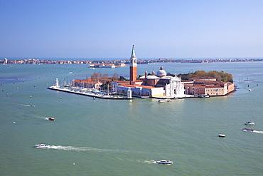 View from top of St. Mark's Belltower (Campanile San Marco), of Isole San Giorgio Maggiore, Venice, UNESCO World Heritage Site, Veneto, Italy, Europe