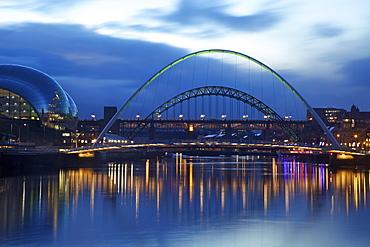Gateshead Quays with Sage Gateshead and Millennium Bridge at night, Tyne and Wear, England, United Kingdom, Europe