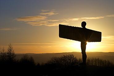 Halo over the Angel of the North by Antony Gormley, erected 1998, Gateshead, Tyne and Wear, England, United Kingdom, Europe