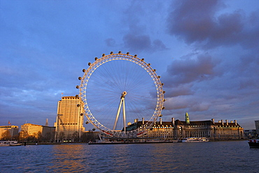 London Eye, River Thames, and City Hall from Victoria Embankment at sunset, London, England, United Kingdom, Europe