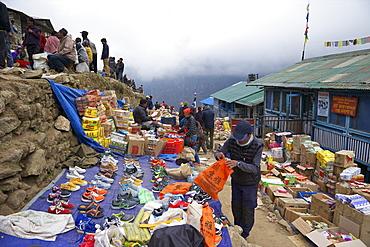Market stalls in Namche Bazaar, Nepal, Asia