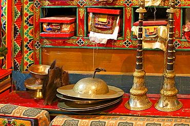 Sacred texts, horns Cignil (cymbals) and yeti scalp, Namche monastery, Namche Bazaar, Nepal, Asia