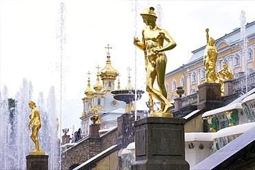 Golden statue of Hermes (Mercury), Grand Cascade, Peterhof (Petrodvorets), St. Petersburg, Russia, Europe
