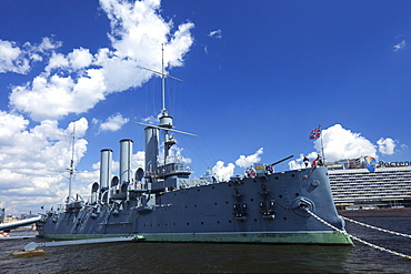 Aurora Cruiser on River Neva, Naval Academy, St. Petersburg, Russia, Europe