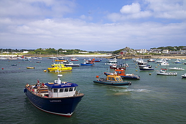 Boats in harbour, St. Mary's, Isles of Scilly, England, United Kingdom, Europe
