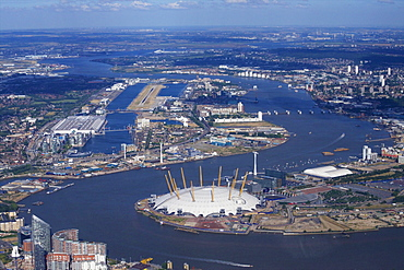Aerial view of London City Airport and O2 Arena, London, England, United Kingdom, Europe
