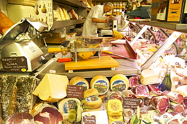 Delicatessen food store with cheese and ham on sale, Rome, Lazio, Italy, Europe