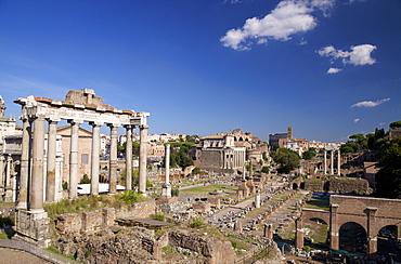 Temple of Saturn and Roman Forum, UNESCO World Heritage Site, Rome, Lazio, Italy, Europe