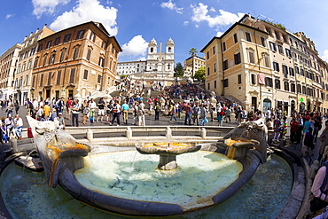 Barcaccia fountain, Spanish Steps and Piazza di Spagna, Rome, Lazio, Italy, Europe