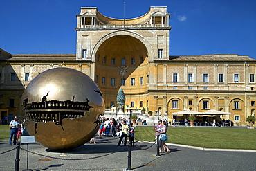 Sphere Within Sphere, in the Cortile della Pigna, by Arnaldo Pomodoro, 1990, Vatican Museum, Rome, Lazio, Italy, Europe
