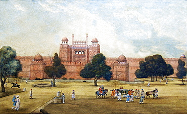 Painting of Red Fort, 19th century, Archaeological Museum, Red Fort, Delhi, India, Asia