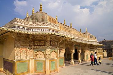 Pavilion above the Ganesh Bol Gate, Amber Fort Palace, Jaipur, Rajasthan, India, Asia