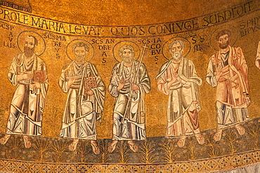 Detail of 13th century apse Byzantine mosaics, Cathedral of Santa Maria Assunta (Duomo Santa Maria dell'Assunta), Torcello Island, Venice Lagoon, UNESCO World Heritage Site, Veneto, Italy, Europe