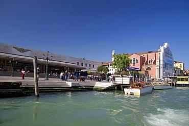 Venezia Santa Lucia railway station, and Gand Canal on sunny summer day, Venice, UNESCO World Heritage Site, Veneto, Italy, Europe