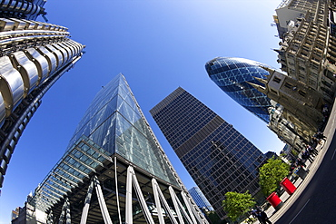 City of London financial district with Gherkin, Lloyds building, Cheese Grater and NatWest Tower, England, United Kingdom, Europe