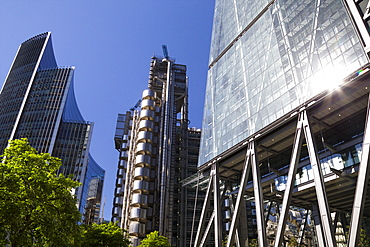 Lloyds, Willis and Cheese Grater buildings, financial district, City of London, England, United Kingdom, Europe