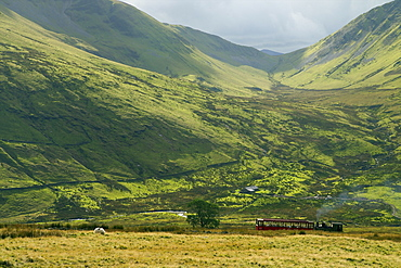 Steam engine and passenger carriage on trip down Snowdon Mountain Railway, Snowdonia National Park, Gwynedd, Wales, United Kingdom, Europe
