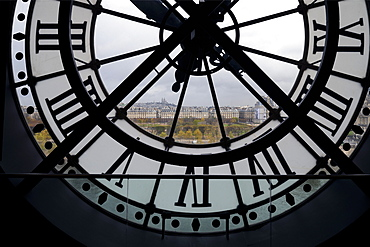 View through clock face from Musee D'Orsay toward Montmartre, Paris, France, Europe