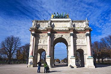 Arc de Triomphe du Carrousel (Arc du Carrousel) near Musee du Louvre, Paris, France, Europe
