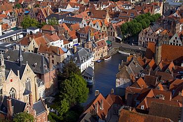 Rozenhoedkaai seen from the top of Belfry Tower (Belfort Tower), UNESCO World Heritage Site, Bruges, West Flanders, Belgium, Europe