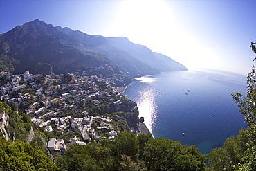 Positano town in early morning sunshine, Amalfi coast road, UNESCO World Heritage Site, Bay of Naples, Campania, Italy, Europe