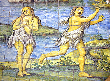 Detail of majolica tiled floor depicting earthly paradise in Church of San Michele Arcangelo by Leonardo Chiaiese dating from 1761, Anacapri, Isle of Capri, Campania, Italy, Europe