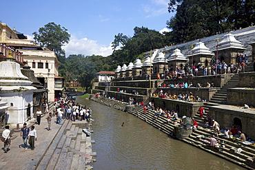 Pashupatinath Cremation site on the Bagmati River, Kathmandu, Nepal, Asia