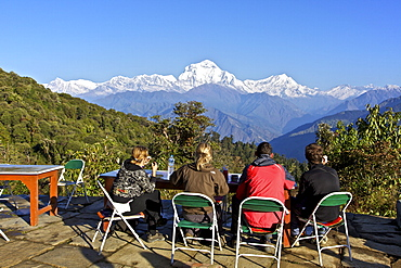Trekkers enjoying al fresco breakfast in teahouse in  Ghorepani, Annapurna Sanctuary Region, Himalayas, Nepal, Asia