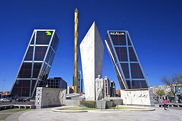 Kio towers (Torres Kio) at the end of the Paseo de la Castellana, Plaza Castilla, Madrid, Spain, Europe