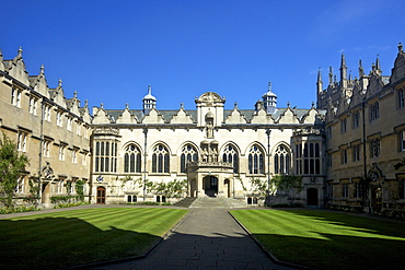 Front Quad buildings including hall and chapel, Oriel College, Oxford University, Oxford, Oxfordshire, England, United Kingdom, Europe