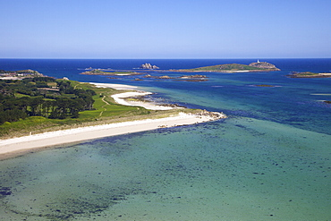 Aerial view of Tresco, Isles of Scilly, England, United Kingdom, Europe