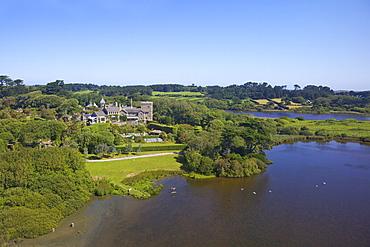 AerIal photo of Tresco Abbey, Isles of Scilly, England, United Kingdom, Europe