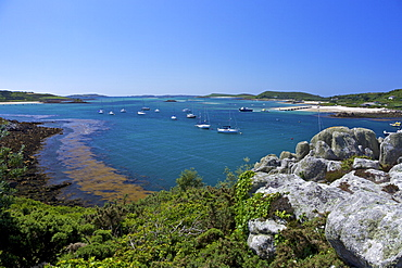 Frenchman's Point, looking to Bryher, Island of Tresco, Isles of Scilly, England, United Kingdom, Europe
