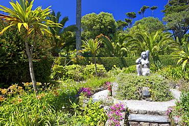 Gaia sculpture by David Wynne, 1989, in the sub-tropical Abbey Gardens, Island of Tresco, Isles of Scilly, England, United Kingdom, Europe