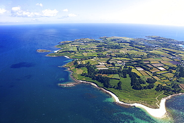 Aerial view of St. Mary's island, Isles of Scilly, England, United Kingdom, Europe