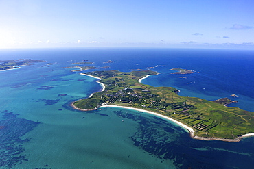 AerIal photo of St. Martin's island, Isles of Scilly, England, United Kingdom, Europe