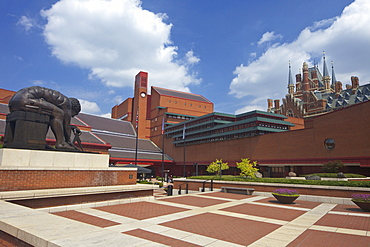 British Library Courtyard with statue of Isaac Newton, with St. Pancras Railway Station behind, Euston Road, London, England, United Kingdom, Europe