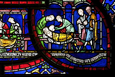 Medieval stained glass depicting the Plague in the House of Jordan Fitz-Eisulf, Becket Miracle Window 6, Trinity Chapel Ambulatory, Canterbury Cathedral, UNESCO World Heritage Site, Canterbury, Kent, England, United Kingdom, Europe
