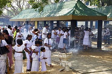 Buddhist pilgrims, Sri Maha Bodhi, sacred bodhi tree planted in 249 BC Unesco World Heritage Site, Anuradhapura, Sri Lanka, Asia