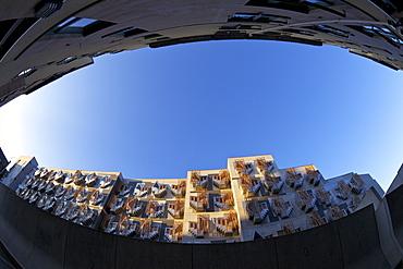 Exterior of New Scottish Parliament building, architect Enric Miralles, Holyrood, Edinburgh, Scotland, United Kingdom, Europe