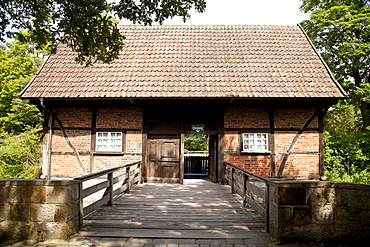 Entrance to the Muehlenhof open air museum, half-timbered house, Muenster, Muensterland, North Rhine-Westfalia, Germany, Europa