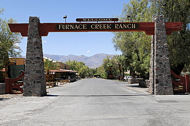 Entrance to Furnace Creek Ranch, Death Valley National Park, California, USA, North America