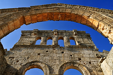 Ruin of Saint Simeon Monastery, Qala¥at Samaan, Qalaat Seman archeological site, Dead Cities, Syria, Middle East, West Asia