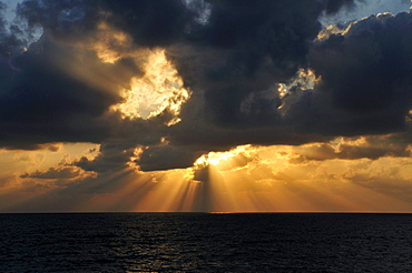 Sunset with clouds over the Mediterranean sea, near Lattakia, Syria, Middle East, West Asia