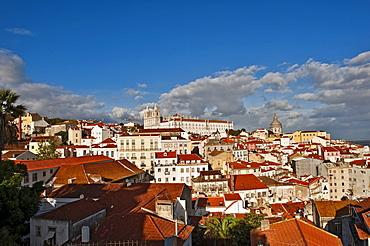 View from Miradouro Santa Luzia on the church Igreja Sao Vicente de Fora, Alfama district, Lisbon, Portugal, Europe