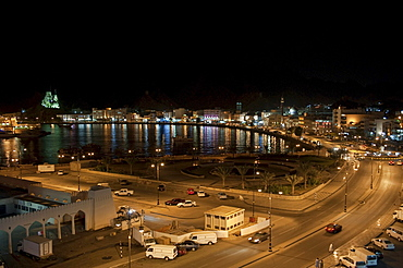 Port and Corniche in the evening, Muttrah, Oman, Middle East