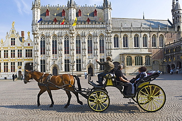 Castle and city hall, horse coach, historic centre of Bruges, Unesco World Heritage Site, Belgium, Europe
