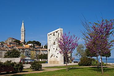 Liberation Monument and Sv. Eufemia church, Rovinj, Istria, Croatia, Europe