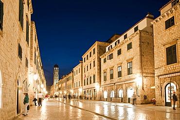 Placa, Stradun and Franciscan monastery at dusk, old town, Dubrovnik, Dubrovnik County, Croatia, Europe