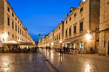 Placa, Stradun at dusk, old town, Dubrovnik, Dubrovnik County, Croatia, Europe